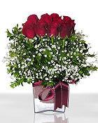 Uşak çiçek , çiçekçi , çiçekçilik  11 adet gül mika yada cam - anneler günü seçimi -