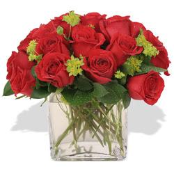 Uşak çiçekçi telefonları  10 adet kirmizi gül ve cam yada mika vazo