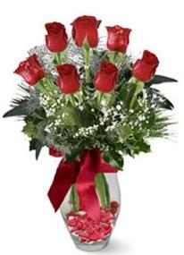 Uşak internetten çiçek siparişi  7 adet kirmizi gül cam vazo yada mika vazoda