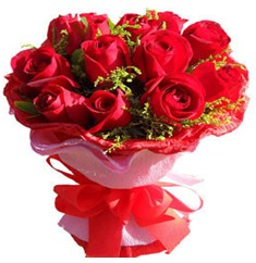 9 adet kirmizi güllerden kipkirmizi buket  Uşak çiçekçiler