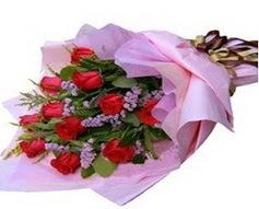 11 adet kirmizi güllerden görsel buket  Uşak çiçek gönderme sitemiz güvenlidir