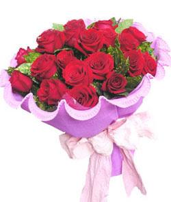 12 adet kırmızı gülden görsel buket  Uşak çiçekçi mağazası