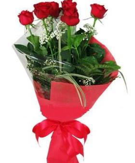 5 adet kırmızı gülden buket  Uşak kaliteli taze ve ucuz çiçekler