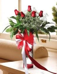 Camda 5 kırmızı gül tanzimi  Uşak çiçekçi telefonları