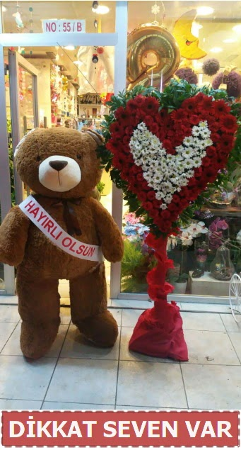 1.5 Metre peluş ayı ve Kalp  Uşak çiçek gönderme sitemiz güvenlidir