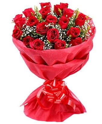 21 adet kırmızı gülden modern buket  Uşak çiçek gönderme