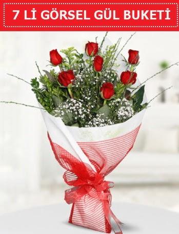 7 adet kırmızı gül buketi Aşk budur  Uşak çiçek satışı