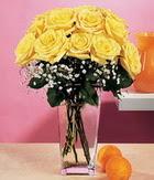 Uşak internetten çiçek satışı  9 adet sari güllerden cam yada mika vazo