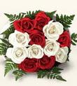 Uşak çiçek , çiçekçi , çiçekçilik  10 adet kirmizi beyaz güller - anneler günü için ideal seçimdir -