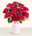 Uşak hediye çiçek yolla  10 kirmizi gül cam yada mika vazo tanzim