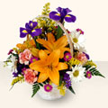 Uşak 14 şubat sevgililer günü çiçek  sepet içinde karisik çiçekler