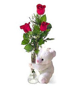 oyuncak ve 3 adet gül  Uşak çiçek siparişi sitesi