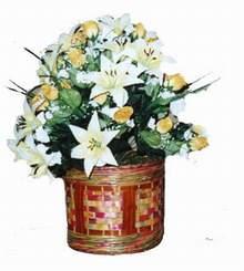 yapay karisik çiçek sepeti   Uşak cicekciler , cicek siparisi