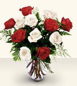 Uşak uluslararası çiçek gönderme  6 adet kirmizi 6 adet beyaz gül cam içerisinde