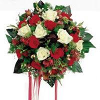 Uşak ucuz çiçek gönder  6 adet kirmizi 6 adet beyaz ve kir çiçekleri buket