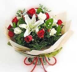 güller ve kazablanklardan görsel bir buket  Uşak internetten çiçek satışı