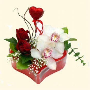 Uşak hediye sevgilime hediye çiçek  1 kandil orkide 5 adet kirmizi gül mika kalp