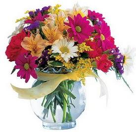 Uşak internetten çiçek satışı  cam yada mika içerisinde karisik mevsim çiçekleri