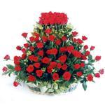 Uşak kaliteli taze ve ucuz çiçekler  41 adet kirmizi gülden sepet tanzimi