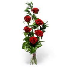 Uşak uluslararası çiçek gönderme  mika yada cam vazoda 6 adet essiz gül