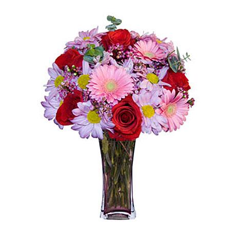 Görsel hediye karisik cam mevsim demeti  Uşak çiçekçi mağazası