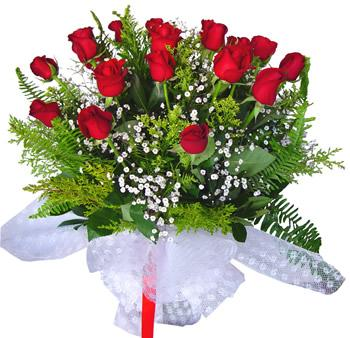 11 adet gösterisli kirmizi gül buketi  Uşak internetten çiçek satışı