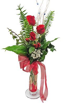 Çiçek gönderin cam vazoda 3 gül çiçekleri  Uşak çiçek siparişi sitesi