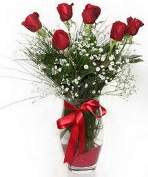 7 adet gülden cam içerisinde güller  Uşak 14 şubat sevgililer günü çiçek