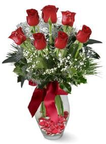 7 adet vazoda gül  Uşak internetten çiçek satışı  kirmizi gül
