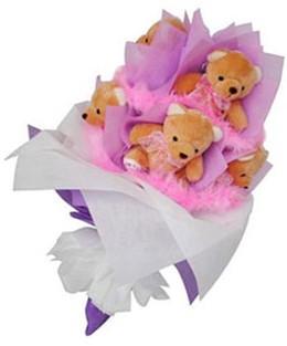 9 adet ayiciktan buket  Uşak hediye sevgilime hediye çiçek