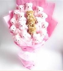 17 adet pelus ayicik buketi  Uşak İnternetten çiçek siparişi