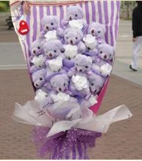 11 adet pelus ayicik buketi  Uşak çiçek gönderme sitemiz güvenlidir