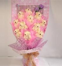 11 adet pelus ayicik buketi  Uşak çiçek yolla