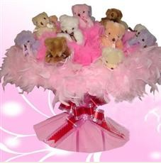 11 adet pelus ayicik buketi  Uşak çiçek satışı
