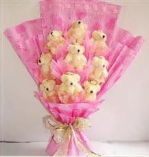 9 adet pelus ayicik buketi  Uşak anneler günü çiçek yolla