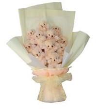 11 adet pelus ayicik buketi  Uşak ucuz çiçek gönder