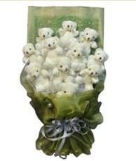 11 adet pelus ayicik buketi  Uşak online çiçek gönderme sipariş
