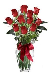 11 adet kirmizi gül vazo mika vazo içinde  Uşak 14 şubat sevgililer günü çiçek