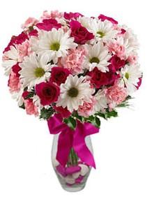 Uşak çiçek siparişi sitesi  Karisik mevsim kir çiçegi vazosu