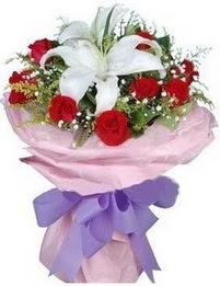 9 adet kirmizi gül 1 adet kazablanka buketi  Uşak çiçekçi mağazası