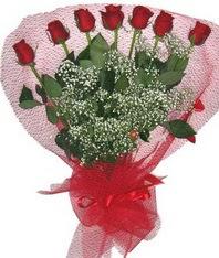 7 adet kipkirmizi gülden görsel buket  Uşak çiçek mağazası , çiçekçi adresleri
