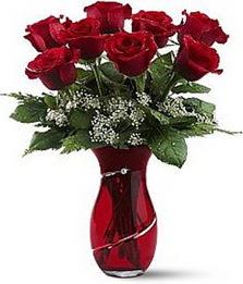 Vazo içinde 8 adet kirmizilar içinde güller  Uşak internetten çiçek siparişi