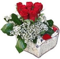 Uşak güvenli kaliteli hızlı çiçek  kalp mika içerisinde 7 adet kirmizi gül