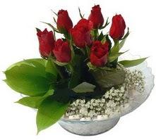 Uşak internetten çiçek satışı  cam yada mika içerisinde 5 adet kirmizi gül