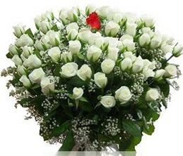 Uşak internetten çiçek satışı  100 adet beyaz 1 adet kirmizi gül buketi