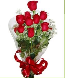 Uşak uluslararası çiçek gönderme  10 adet kırmızı gülden görsel buket
