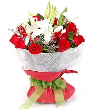 Uşak hediye çiçek yolla  1 dal kazablanka 11 adet kırmızı gül buketi