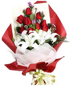 Uşak çiçekçiler  1 dal kazablankaa 9 adet kırmızı gül buketi