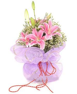 3 dal kazablanka görsel buketi  Uşak internetten çiçek satışı