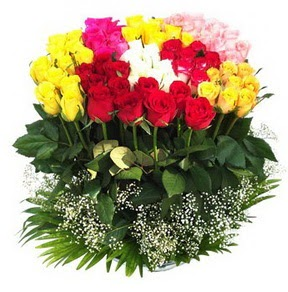 Uşak çiçek mağazası , çiçekçi adresleri  51 adet renkli güllerden aranjman tanzimi